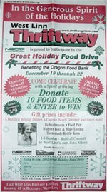 2002, 2nd Annual Great Holiday Food Drive Ad in the West Linn Tidings